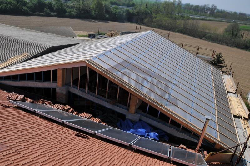 I teli Actis sono posizionati su tutta la superficie del tetto