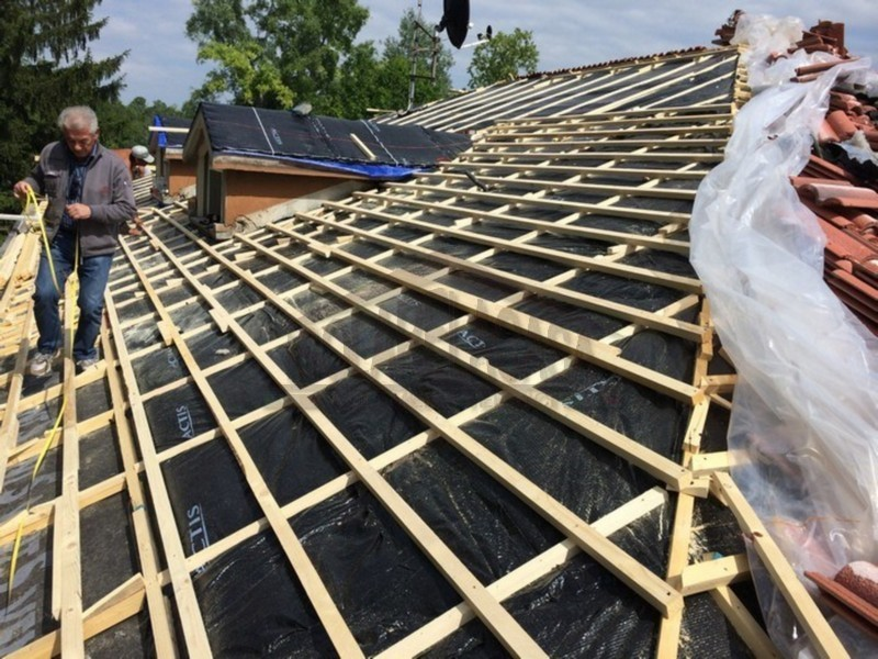 Allestimento doppia listellatura su tetto per isolamento termico